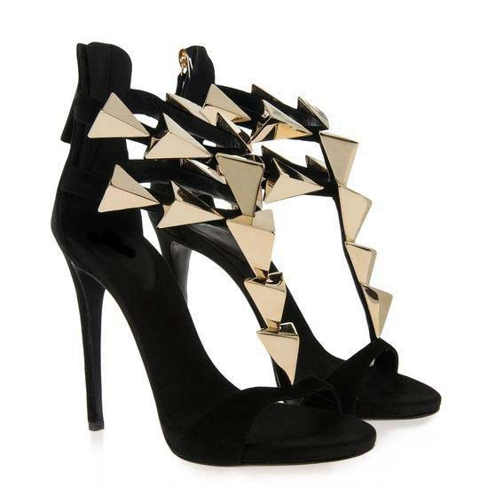 Hot Sale Fashion Cheap Price Gold Metal Embellished High Heel Sandals Summer Hollow Out Back Zipper High Thin Heel Dress Shoes in High Heels from Shoes