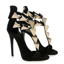 Hot Sale Fashion Cheap Price Gold Metal Embellished High Heel Sandals Summer Hollow Out Back Zipper High Thin Heel Dress Shoes rhinestone glitter embellished heel sandals