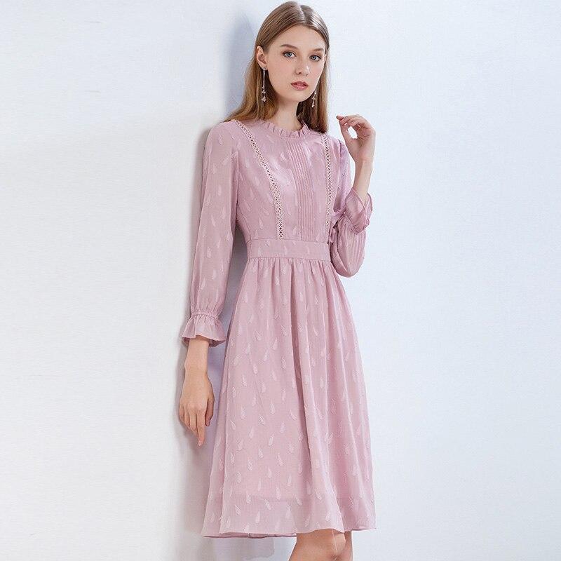 Onlyplus S-XXL Mode Jacquard Rose Robe Pour Femme En Mousseline de Soie Automne Printemps Doux Occasionnel Femelle Robe Flare Manches Nouveau Design