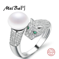 [MeiBaPJ]Fashion 925 sterling silver pearl animal ring finger freshwater pearl leopard ring jewelry top quality for women party