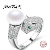 [Meibapj]ファッション925スターリングシルバーパール動物薬指淡水真珠ヒョウリングジュエリートップ品質のための女性パーティー