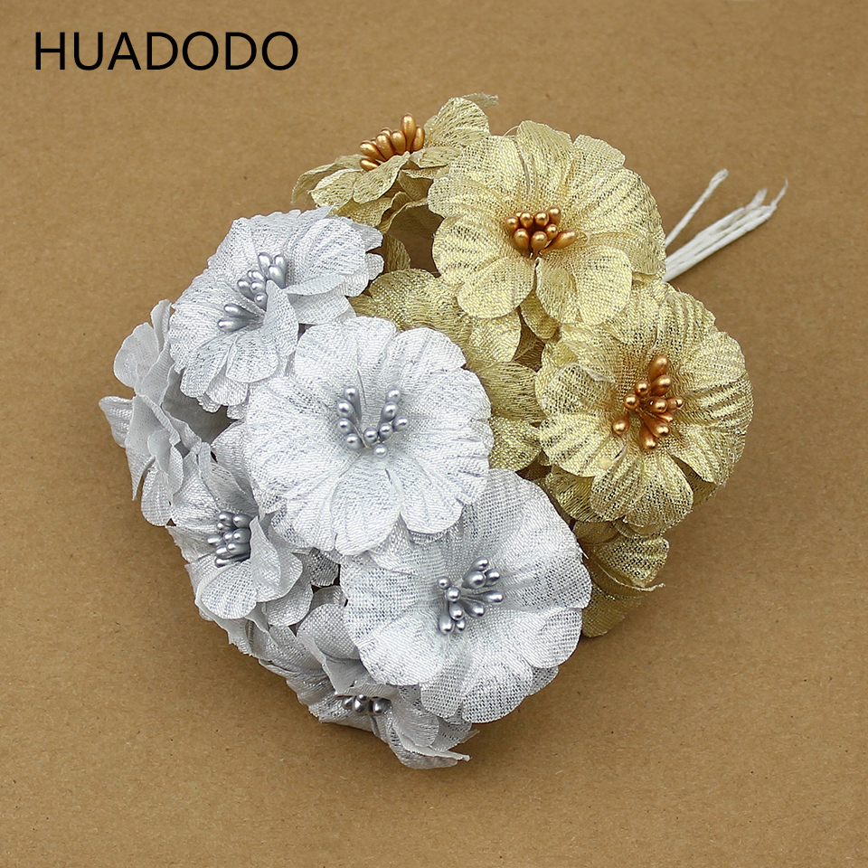 HUADODO 6pcs Gold Silver Artificial flowers bouquet silk Morning glory fake flower for Scrapbook DIY Box Wedding Decoration