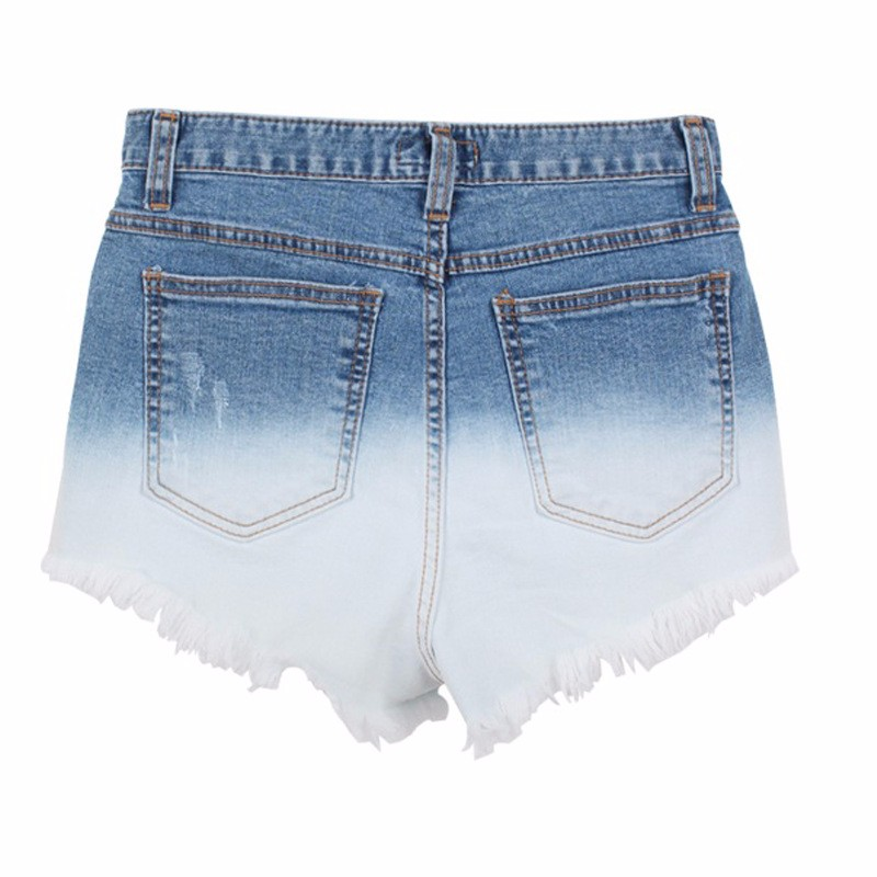 Hot Women Denim Shorts Gradient Color Jean Short Pants Fashion Female High Waist 2016 Casual Plus Size Jeans Shorts