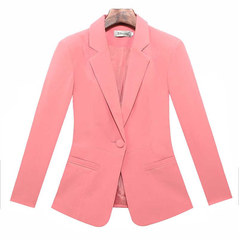Mode elegante herfst slanke werkkleding vrouwen formele volledige mouw sky blue blazers jassen vrouwelijke kantoor plus size jas
