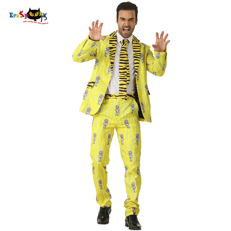 CRAZE 2018 Yellow Indian Tiger Suits Men Stripe Halloween Costumes Blazer Animal Cosplay Fashion Carnival Party Stage Outfit