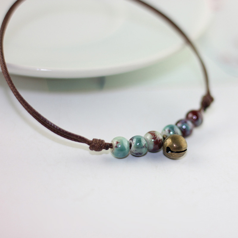 Bells Pendant Anklet Bracelet For Women Fashion Jewelry Handmade Braided Ceramic Blue Red Stone Bronze Anklet Female Accessories