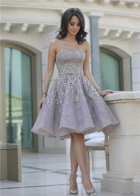 Gorgeour Full Sparkly Beads Short Prom Dress Silver Sequins Organza ...