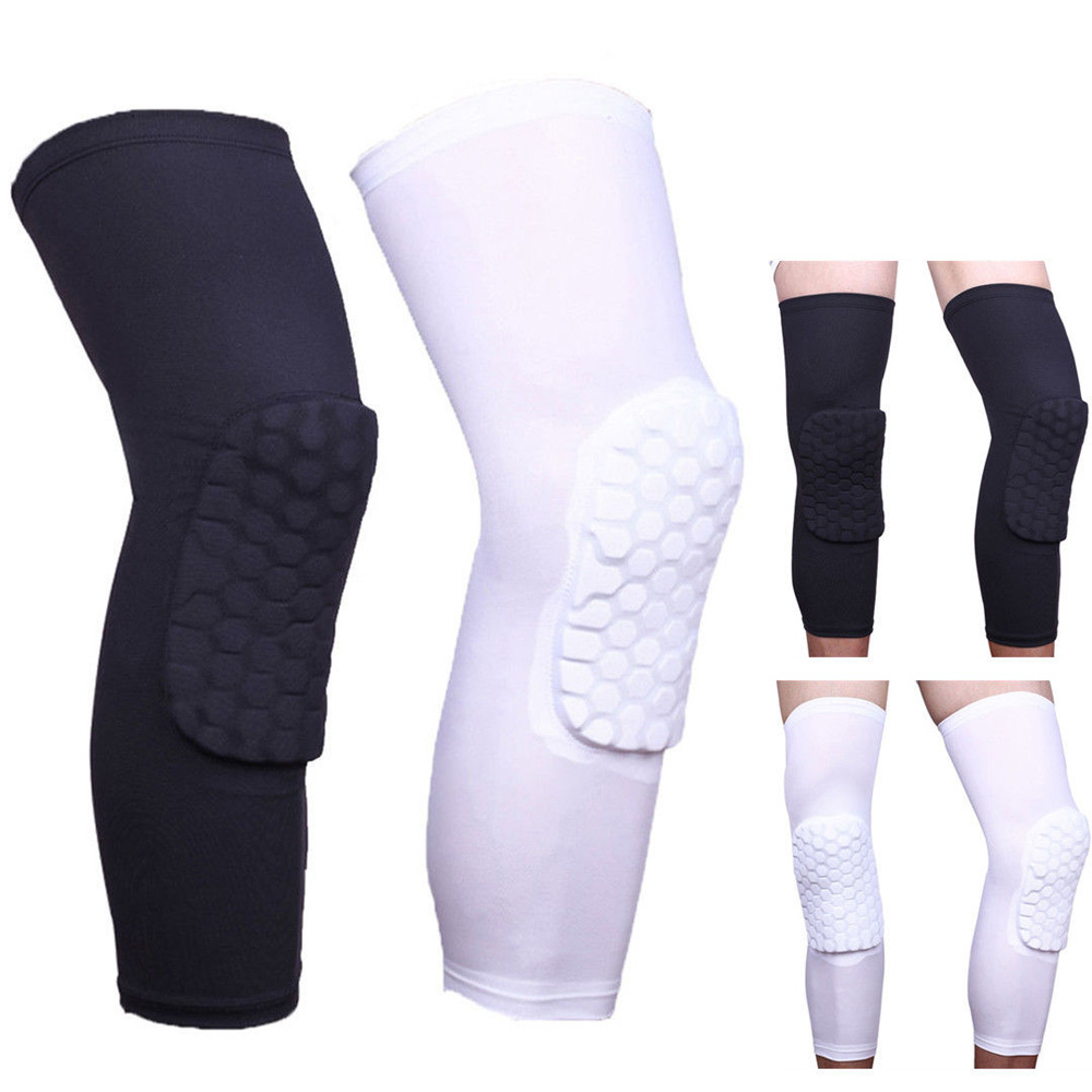 Sports Kneepad Breathable Men Women Sports Honeycomb Long Knee Black White Support Pad Protector S kansa k 063 outdoor sports elastic ankle support guard protector white