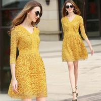 Elegant V Neck A Line Lace Dress Autumn Three Quarter Sleeve Slim Women Dress S M