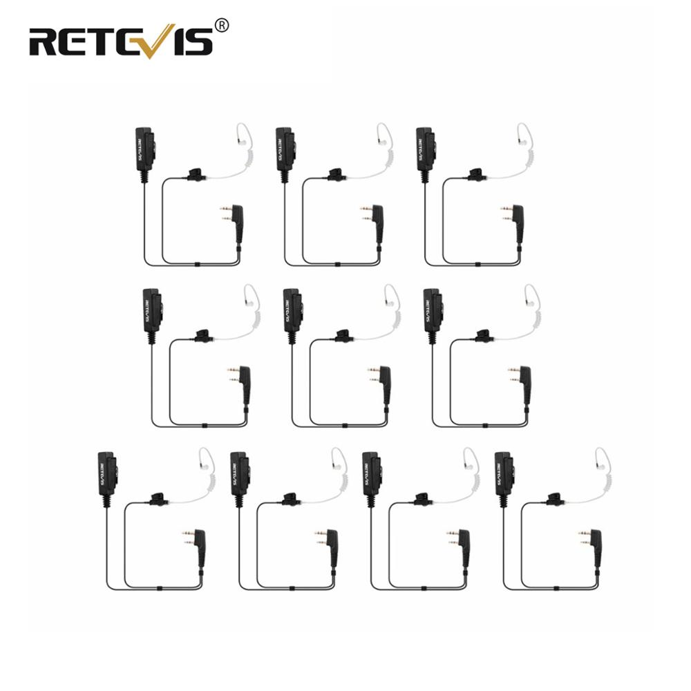 10pcs Big Size PTT 2Pin Mic Earpiece For Kenwood Retevis H777 RT5R RT5 RT7 RT22 For Baofeng UV-5R BF-888S For TYT Walkie Talkie