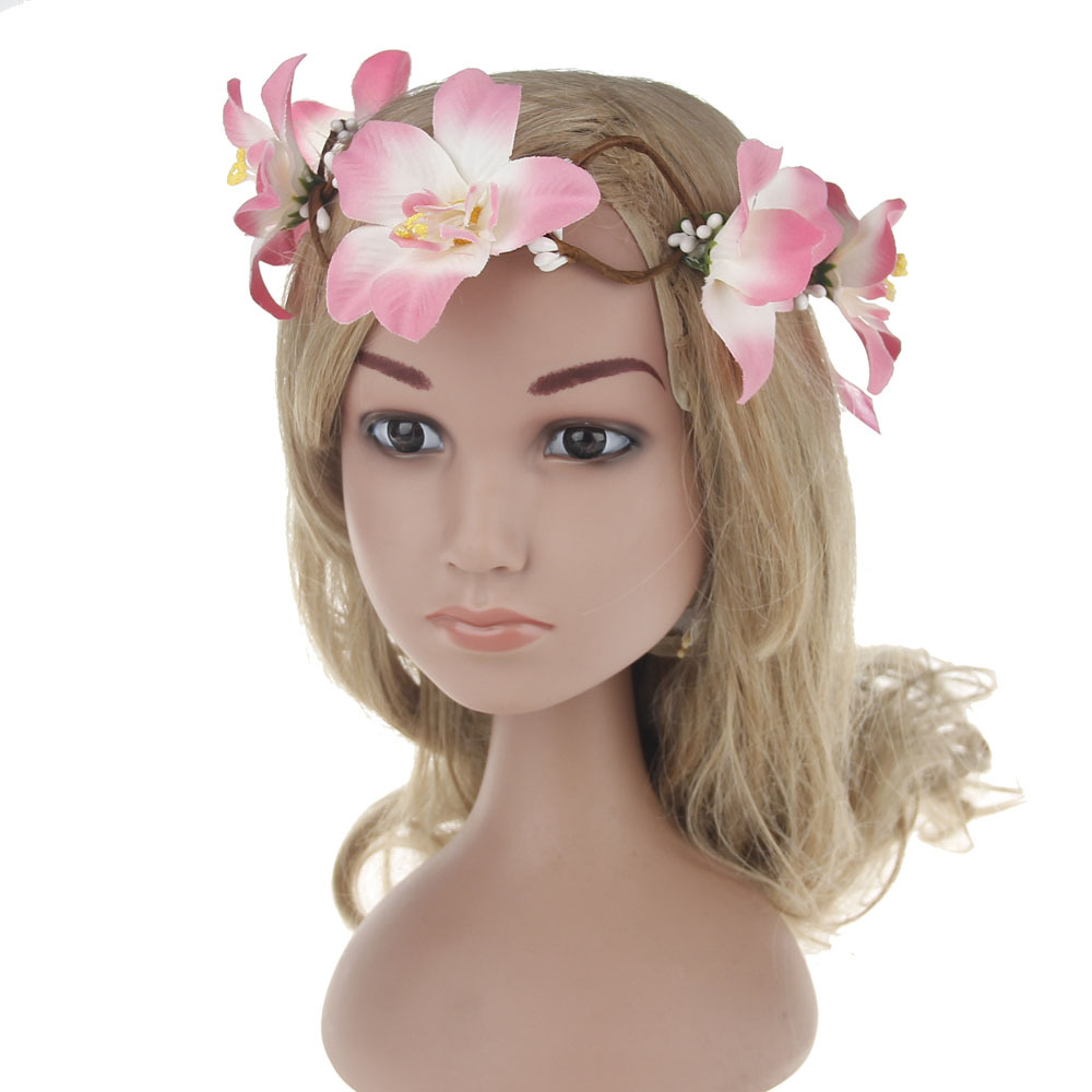 2017 JEWEL  ACCESSORIES Store Bohemia Handmade lily Bride Wreath Hairband Hair Accessories forehead wreath Beach Party Romantic