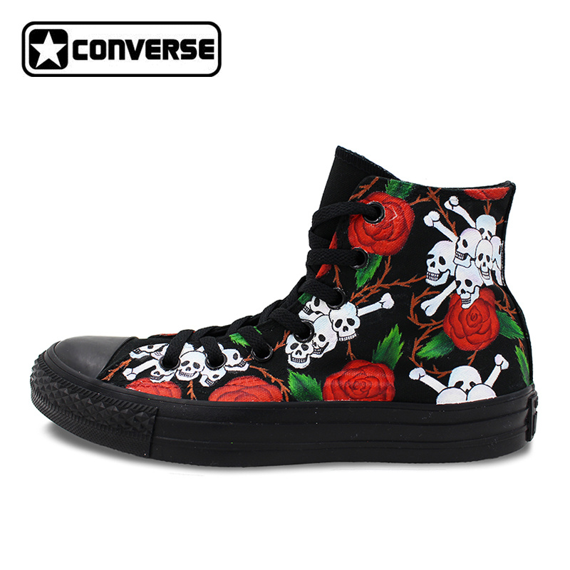 Roses Skulls Original Design All Black Converse Mens Womens Shoes Hand Painted Shoes High Top Canvas Sneakers Woman Man Shoes wen original hand painted canvas shoes space galaxy tardis doctor who man woman s high top canvas sneakers girls boys gifts
