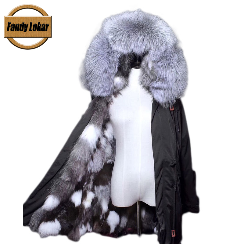 Warm Raccoon Fur Collar Coat Women Winter Real Fox Fur Liner Loose Warm Jacket With Hat Women Army Bomber Parka Female Ldadies 2017 winter new clothes to overcome the coat of women in the long reed rabbit hair fur fur coat fox raccoon fur collar