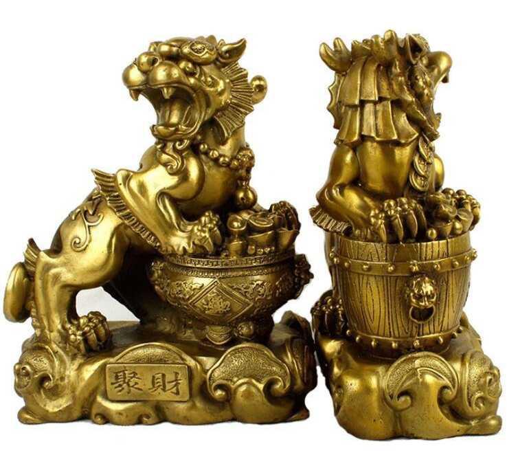 פנג שואי הסיני כסף נחושת ברונזה עושר Yuanbao פסל PiXiu kylin זוג