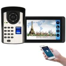 где купить SmartYIBA Fingerprint RFID Password Video Intercom 7 Inch LCD Wifi Wireless Video Door Phone Doorbell Intercom KIT APP Control дешево