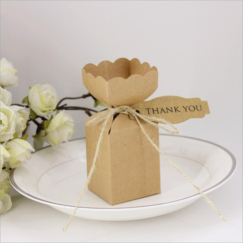 buy 50pcs kraft paper candy box rustic wedding favors candy holder bags wedding party gift boxes with thank you tags from