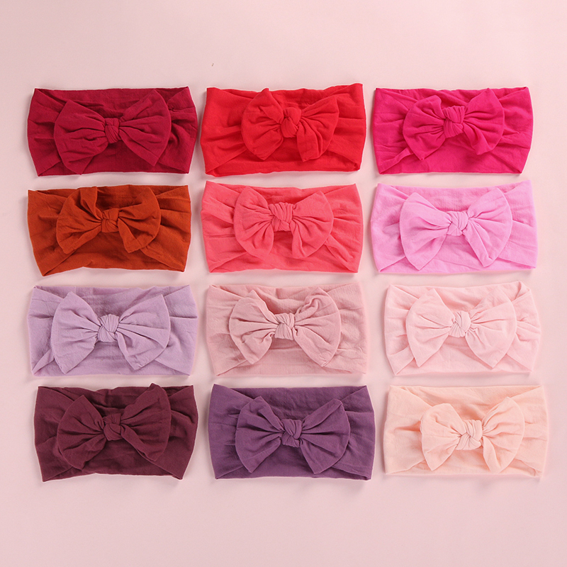 27pcs/lot Knot Bows Nylon Head Wraps Baby Girls Soft Nylon Turban Headband Girls Hair Accessories 27 Colors