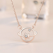 Sterling Silver S925 Necklace Women Fashion Fantasy Planet Necklace Gold Clavicle Zircon Cosmic Chain thai silver necklace hand chain s925 sterling silver men clavicle necklace authentic wholesale