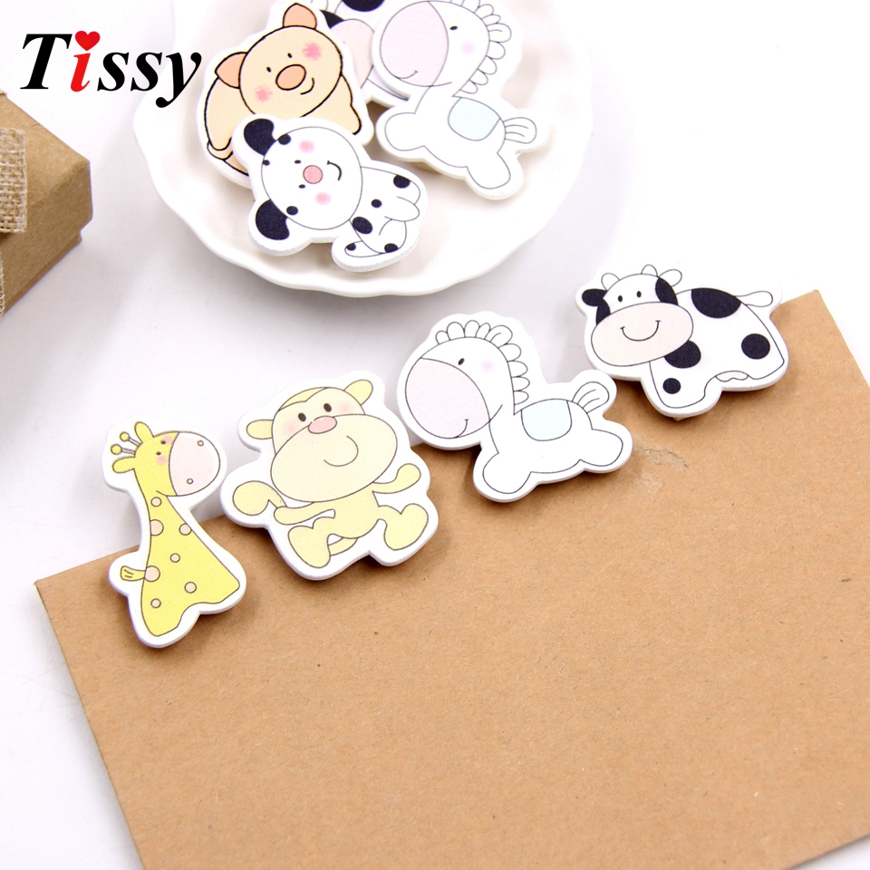 20PCS Cute Animal Wooden Clips Photo Clips DIY Craft Scrapbooking Home Decor Kids Birthday/Wedding Party Decoration Kids Gift