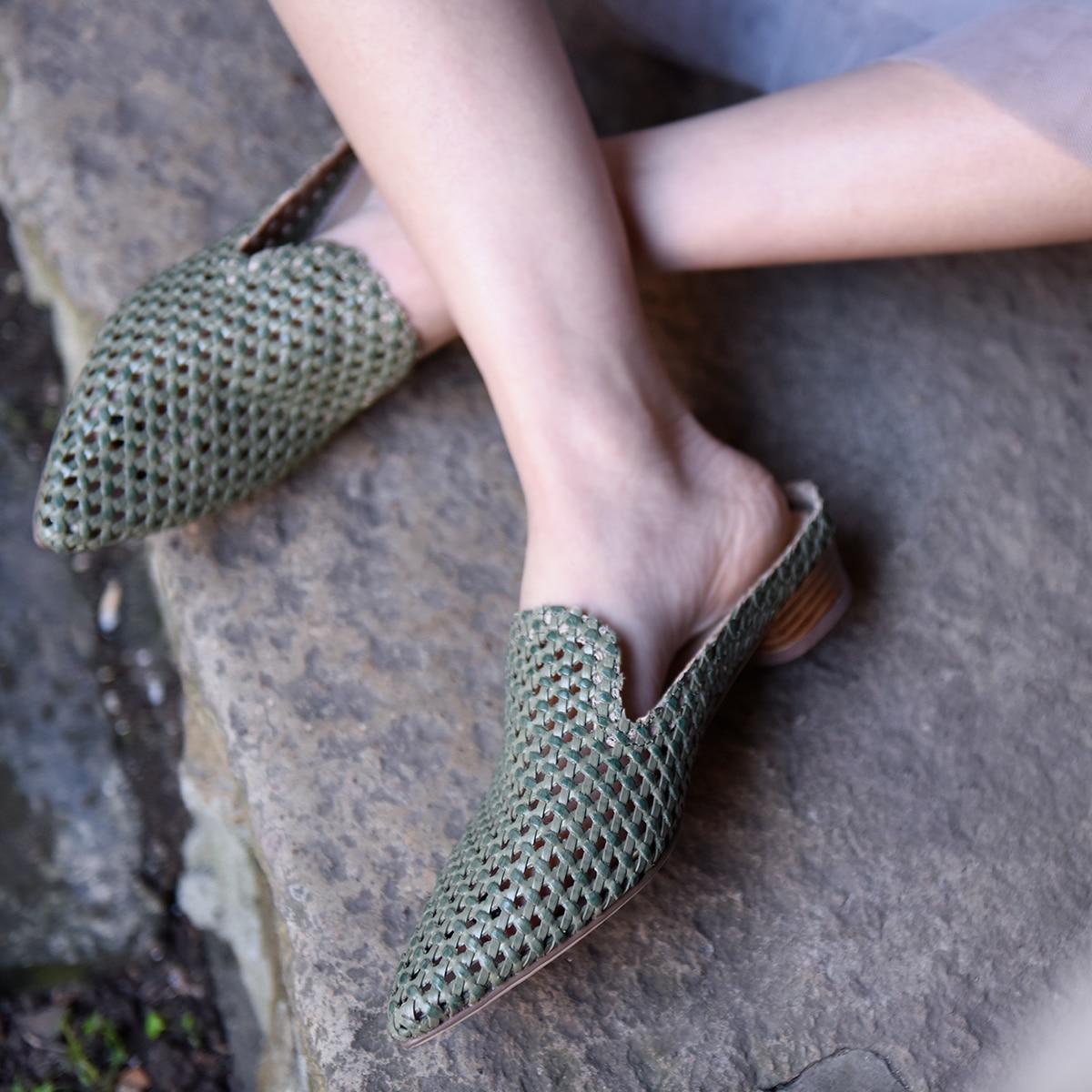 Artmu Original bas talons évider femmes pantoufle à l'extérieur en cuir véritable Cool 2019 nouveau pointu à la main pantoufles 249-2