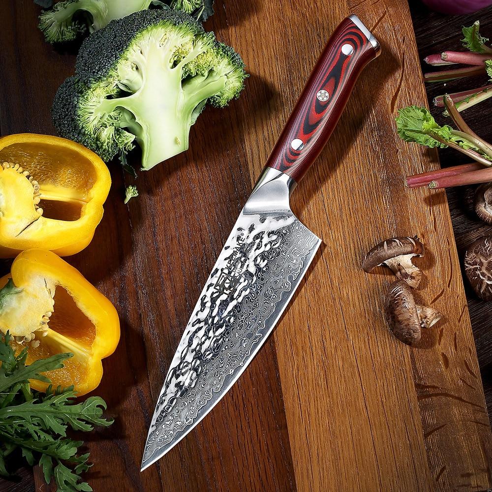 """SUNNECKO 6.5 """"بوصة مطبخ الشيف سكين اليابانية دمشق AUS 10 الصلب شفرة حادة 60HRC G10 مقبض التكعيب اللحوم أدوات تقطيع-في سكاكين مطبخ من المنزل والحديقة على  مجموعة 1"""