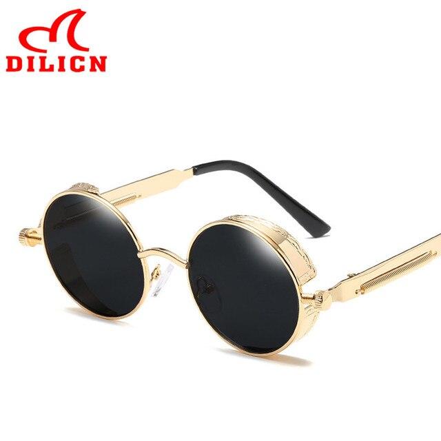 3339bf40a Hot Steampunk Óculos De Sol Dos Homens Do Vintage Retro Rodada Óculos de Sol  Óculos de