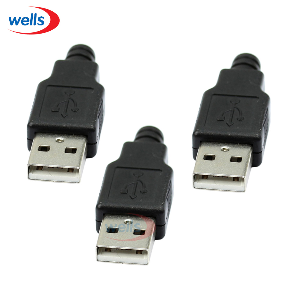 5pcs A Type  Male USB connector 4Pin Plug Socket Connector With Black Plastic Cover 10pcs g41 usb male 4pin a type plug
