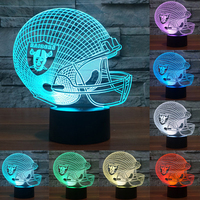 Touch Switch NFL Team Logo 3D Light LED Detroit Lions Football Cap Helmet 7 Color Changing