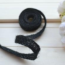 """Negro cuerda de yute decoración de cuerda tejida patchwork cinturón zakka taping cinta de cáñamo decoración accesorio 10 m/lote 10 mm ( 0.394 """" )"""