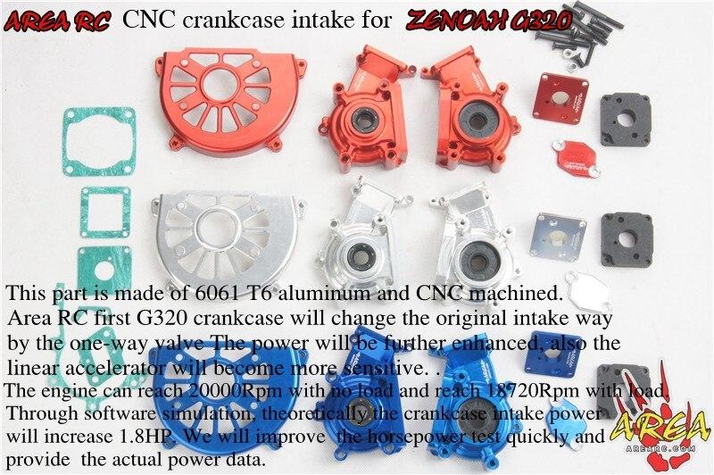 Carter d'admission ZENOAH G320RC en alliage CNC couleur bleue