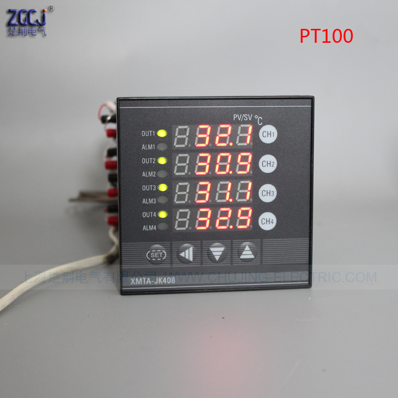 Multifuncion 4 ways PT100 temperature controller RELAY output 4 channels digital thermostat can connect with 4