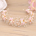 Handmade Pink Bowknot Bridal Tiara Hair Vine Crystal Wedding Headband Accessories Women Headpiece