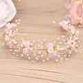 Hecho a mano de Color Rosa Bowknot Vid de Cristal Tiara Nupcial Del Pelo Accesorios de La Venda de Boda de Las Mujeres Casco