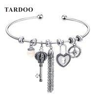 Tardoo DIY Armbanden en Armbanden 925 Sterling Zilveren Bedels Armbanden voor Vrouwen opening kwastje sleutel Liefde parel fijne Sieraden Pulseras