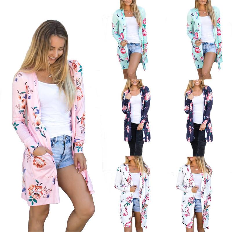 Autumn Long Cardigans 2019 Fashion Womens Flower Print Coat Casual Long Sleeve Blue Pink Female V Neck Cardigan Plus Size S-XXXL