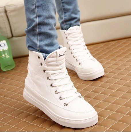 canvas shoes female flat white high heel platform casual