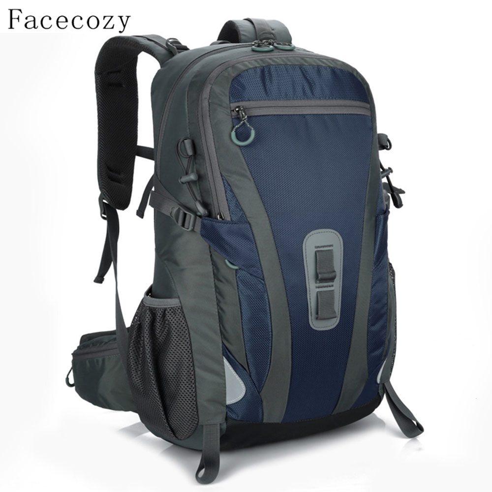 Facecozy Men Women Mountaineering Hiking Outdoor Backpack Camping Travel Backpacks Unisex 40L Softback Waterproof Sports Bags