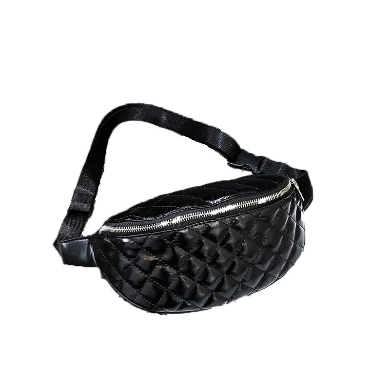Women's Waist Bag New style of leisure and retro Woman's Breast Satchel single shoulder bag Black Embroidered Plaid Mini Bag
