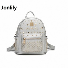 Jonlily Split Leather Women's Backpacks European And American Style Rivet Fashion Student Travel BagsTrend LeisureTime-GL007