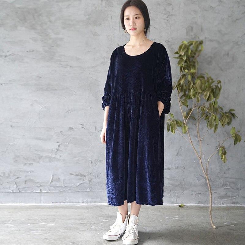SCUWLINEN 2019 Ženy Jaro Podzimní šaty Vintage Elegantní O-krk Lesklý Samet Dlouhé Šaty Pro volný čas Volný Styl Plus Velikost Robe L760