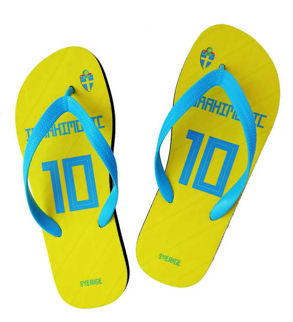 SWEDEN National Team Beach Slipper Ibrahimovic Towels Flip Flops Any Name  And Number Beach Shoes Fans Slipper be8d2d5fd2cb