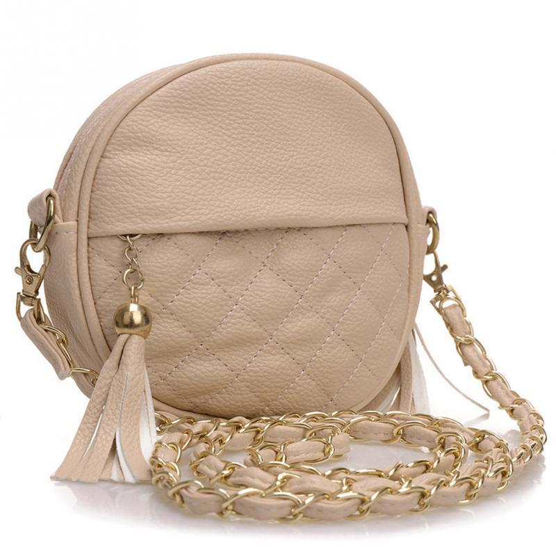 New Women Tassel Chain Small Bags Mini Lady Fashion Round Shoulder Bag Handbag P