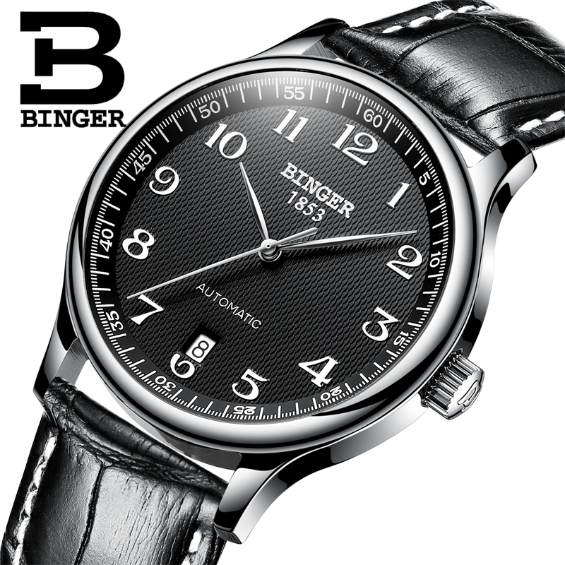 BINGER Brand Luxury Automatic Mechanical Men Watch Sapphire Watches Male Military Relogio Waterproof Men's Watches BG-0379-3 luxury brand binger fashion male steel strap automatic mechanical watches men s sports military wrist watch relogio masculino