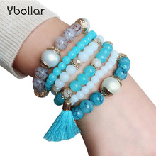 3pcs Bracelet Set For Women Bohemia Beaded Tassel Pendant Multilayer Strand Stretch Bangles Jewelry Wristband Gift