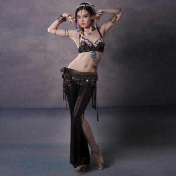 2018 Women Dancewear Costume Set 3pcs Performance Bronze Beads Bra Push Up with Coin Belt Belly Dance Tribal Pants Flare