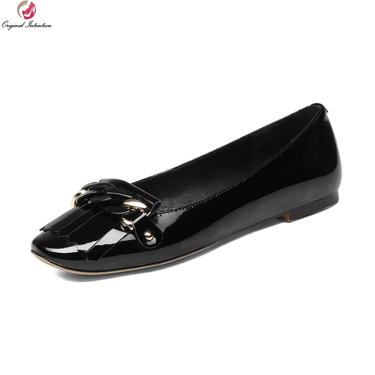 Original Intention Stylish Women Flats Real Leather Square Toe Black Red Patent Leather Chain Shoes Woman Plus US Size 3-10.5 brand new hot sale blue red yellow black green glossy patent leather women nude flats ladies shoes av123 plus big size 49 10 13