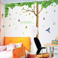 Big Size 330cm 225cm Bedroom Wall Sticker Tree Birds Style Home Decal Sticker PVC Removable Sitting