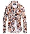 2016 Floral Impressão Camisas Dos Homens dos homens de Manga Longa de Algodão Flor havaiano Vestido de Camisa Slim Fit Botão Homens Moda Camisas Masculino casuais