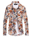 2016 Impresión Floral Camisetas de Manga Larga Hombres hombres del Algodón de la Flor hawaiano Vestido de Camisa Slim Fit Hombres Botón Camisas de Moda Masculina Casual