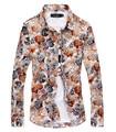 2016 Print Floral Shirts Men Long Sleeve Cotton Men's Flower Hawaiian Dress Shirt Slim Fit Men Button Fashion Shirts Male Casual